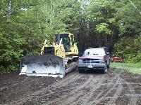 Large bulldozer used for major field restoration